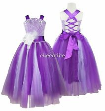 Flower Girl Kid Princess Tulle Dress Pageant Wedding Bridesmaid Formal Ball Gown