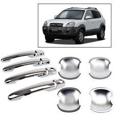 2IN1 FIT FOR 2005-2010 HYUNDAI TUCSON CHROME DOOR HANDLE COVER + BOWL CUP TRIM