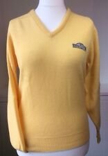 "New Vintage Glenmuir 38"" Lambswool Golf Jumper Sweater Yellow V Neck Wool Looe"