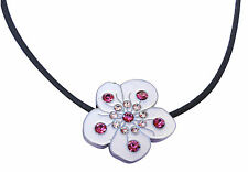 Necklace with Crystal White Flower Golf Ball Marker & Magnetic Heart Clip
