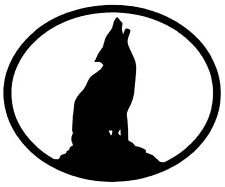 WOLF Vinyl Decal Sticker Car Window Wall Bumper Howling Oval Dog Animal Black