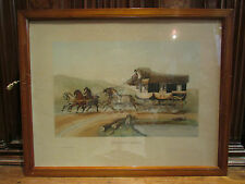 ancienne grande lithographie cadre chaise poste diligence attelage cheval adams
