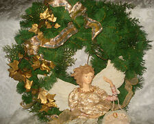 """Lace Angel/ Cameo Purse Gold Ivy, Bows & Ribbon on Evrgreen Christmas Wreath 19"""""""
