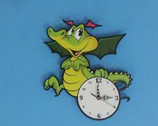 Little Green Dragon Cartoon - Kids Wall Clock