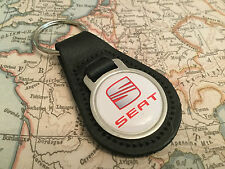 SEAT Quality Black Real Leather Keyring 1
