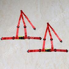 Pair Red 3 Point Racing Rally Race Harness with Anchor Plates