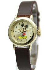 New Disney Mickey Mouse Classic Collectible Gold Tone Brown Leather Band MCK614