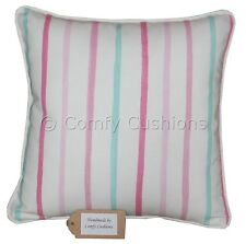 "16""x16"" Laura Ashley Pink Painterly Stripe fabric Piped Cushion Cover"