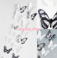 18Pc 3D 22*30cm White Black Crystal Butterfly Decor Wall Sticker Living Room DIY