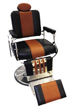 Professional Reclining Barber Chair Rare Two Tone Black Brown Classic Look Style