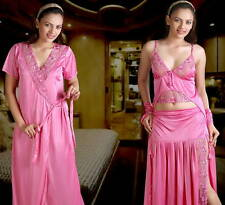 Hot Sleep Wear 3pc Top Lungi / Skirt & Over Coat Pink  315 Night & Robe Set
