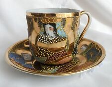 Antique JAPANESE PORCELAIN Satsuma Moriage CUP & SAUCER Immortals 1920s SIGNED