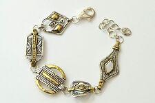 "Silpada NEW ""Globetrotter"" Mixed Metal Sterling Silver Brass Bracelet B3214 NEW"