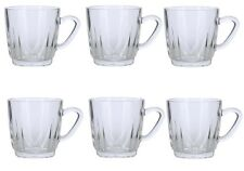 Set of 6 Clear Glass Tea Mugs Latte Coffee Cappuccino Drinks Cups Mugs