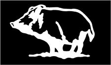 WHITE Vinyl Decal  Hog Boar Pig piglet hunt hunting country truck sticker