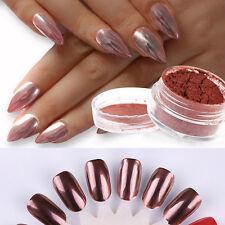 New ROSE GOLD NAILS POWDER Glitter Mirror Chrome Effect Pigment Nail Art Decor