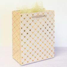 12x Paper Gift Bags w/ Handles,Gold Star, Wedding Shower Birthday Party Supplies