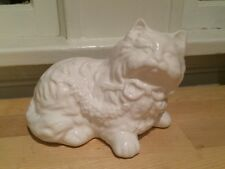 White Porcelain Persian Cat Kitten Statue Figurine