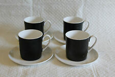 Set of 4 Susie Cooper Contrast Black & White Cups & Saucers