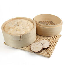 "2 Tier Bamboo Steamer 8"" Chinese Dim Sum Basket Rice Pasta Cooker Cook Set w/Lid"