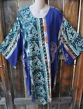 """ART TO WEAR 76+ FLARE SLEEVE TUNIC IN MARDI GRAS BY MISSION CANYON,65""""B,OS+!"""