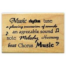 MUSIC WORDS, large mounted rubber stamp #10