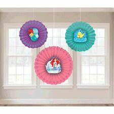 LITTLE MERMAID Dream Big PAPER FAN DECORATIONS (3) ~ Birthday Party Supplies