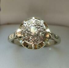 bague dôme de diamants ancienne or blanc 18 carats ring gold 18k diamond french