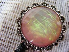 Moonstone Iridescent Opal ID Badge Tag Key Card Pen Holder Reel Lanyard Pink NEW