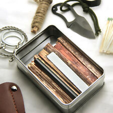 Mini Pocket Survival Tin Fatwood Hand Cut in USA Survival Saw Ferro Rod Knife