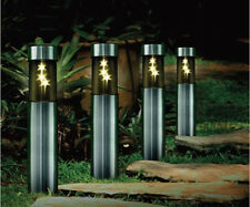 4 x SOLAR STAINLESS STEEL 3 WHITE LED STAR BOLLARD PATIO GARDEN POST LIGHT LAMP