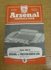 23/08/1960 Arsenal v Preston North End  (small writing on front cover, slight ru