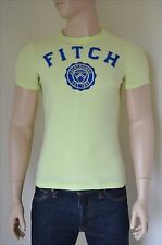 NEW Abercrombie & Fitch Jay Range Heritage Logo Tee T-Shirt Highlighter Yellow S