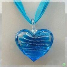 Pendentif Coeur Doha Bleu Turquoise et Argent en Verre Soufflé Style Murano