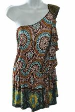 Baby Phat Women's Stretch Beaded One Shoulder Drop Waist Ruffled Mini Dress, L