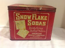 Antique Collectible Snow Flake Soda Tin 2 # Can American Biscuit Co  Advertising