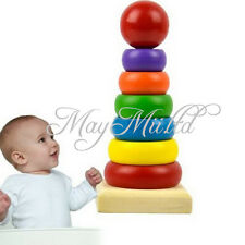 Primary Childrens Baby Wooden Educational Stacking Block Toy Tower Rainbow Y