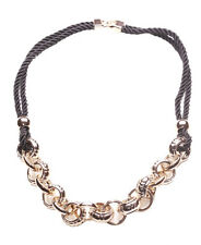 In Trend-Gorgeous Rose Gold Chain & Hoops/ Dual Black Rope Necklace(Ns17)