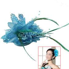 Flor Pluma Abalorio Ramillete De La Muñeca Broche Pasador Boda Tocado Azul