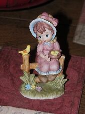 Vintage Handcrafted for LUND'S LITES Girl Sitting on the Fence Bird & Egg Nest