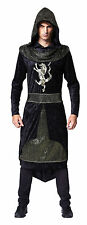 MEDIEVAL & GOTHIC DARK #PRINCE BLACK HOODED ROBE FANCY DRESS ADULT COSTUME