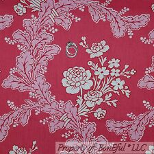 BonEful Fabric FQ Cotton Quilt VTG Pink White Flower Rose Shabby Chic Toile Leaf