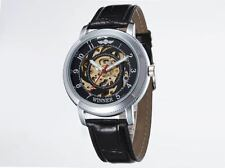 WINNER Mechanical Watch for Men with Skeleton Dial With Leather Strap Automatic