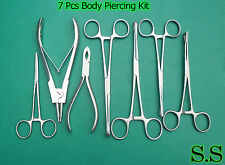 7 Body Piercing Instruments kit Tools Penington Forceps