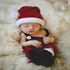 Newborn Baby Gril Christmas Crochet Outfits Photography Costume Photo Props