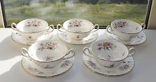Minton English Bone China Marlow Pattern S309 5 x Soup Bowls & Stands Floral