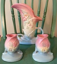 "9"" Tall Hull Art Pottery Wildflower Vase w Matching Candle Sticks Pink~Blue"
