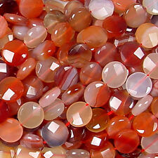 """14MM CARNELIAN FACETED COIN BEADS 15.75"""" ST multicolor"""