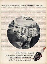 1955 Champion Spark Plugs list of Airlines Using Airplane Cockpit Pilot PRINT AD
