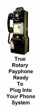 Payphone Black 3 Slot Phone Ringer 1940 Rotary Dialer Coin Slots Reproduction